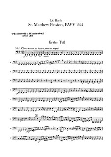 Complete Oratorio: Orchester I, Cello-, Kontrabass-, Cello Solo (oder Viola da gamba) Stimmen by Johann Sebastian Bach