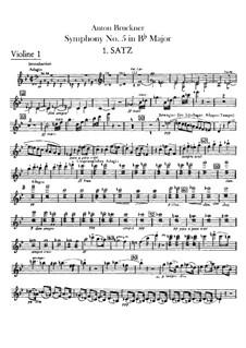 Sinfonie Nr.5 in B-Dur, WAB 105: Violinstimme I by Anton Bruckner