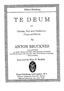 Te Deum Laudamus, WAB 45: Vollpartitur by Anton Bruckner