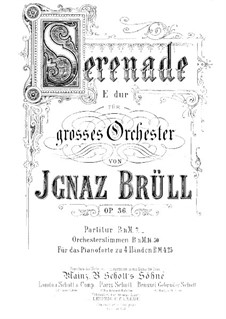 Serenade Nr.2 für Orchester, Op.36: Vollpartitur by Ignaz Brüll
