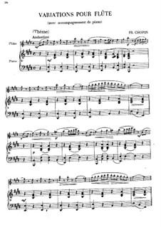 Variationen über Thema aus 'La Cenerentola' von Rossini, B.9: Partitur für zwei Interpreten by Frédéric Chopin