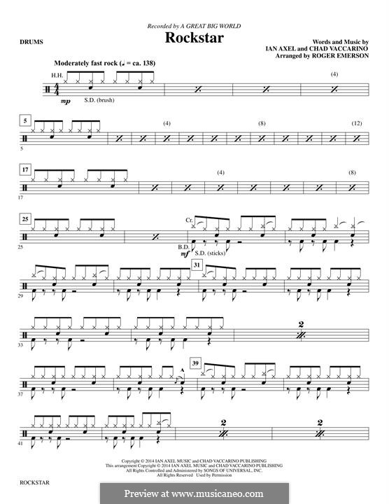 Rockstar (A Great Big World): Drums part by Ian Axel, Chad Vaccarino