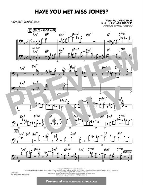 Have You Met Miss Jones?: Bass Clef Sample Solo part by Richard Rodgers