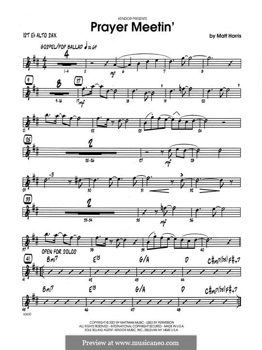 Prayer Meetin': 1st Eb Alto Saxophone part by Matthew Harris