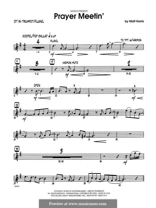 Prayer Meetin': 1st Bb Trumpet part by Matthew Harris