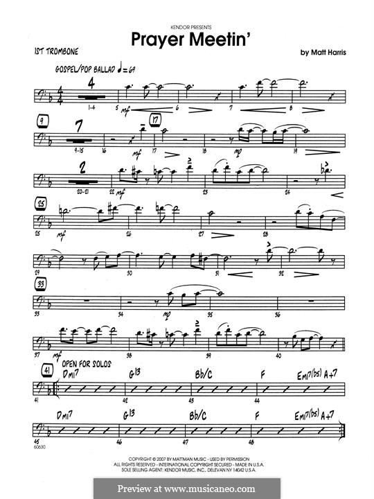 Prayer Meetin': 1st Trombone part by Matthew Harris