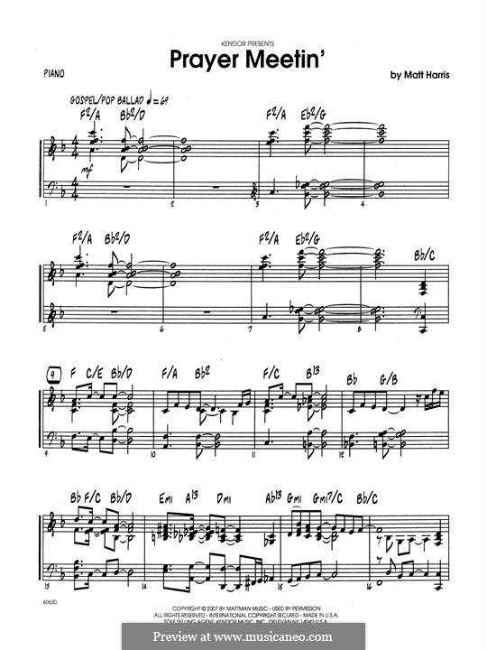 Prayer Meetin': Klavierstimme by Matthew Harris