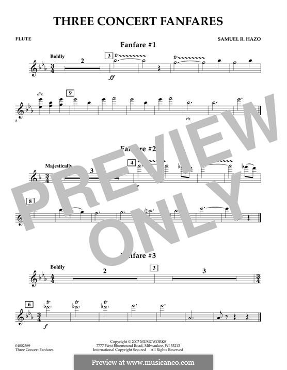 Three Concert Fanfares: Flötenstimme by Samuel R. Hazo