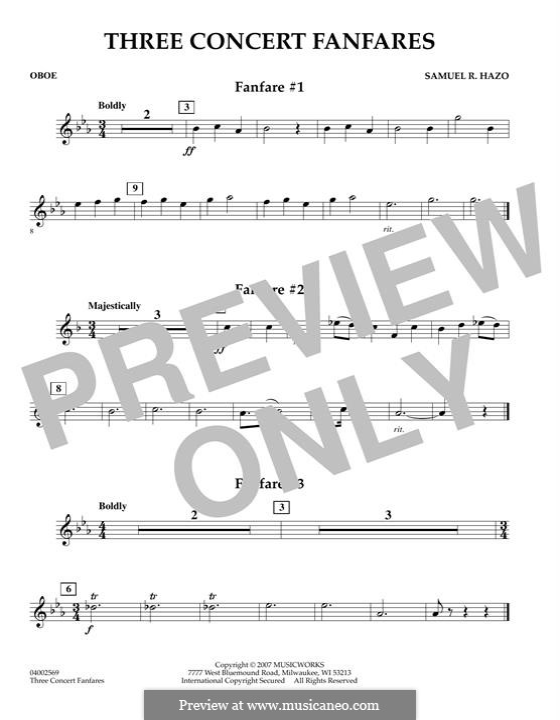 Three Concert Fanfares: Oboenstimme by Samuel R. Hazo