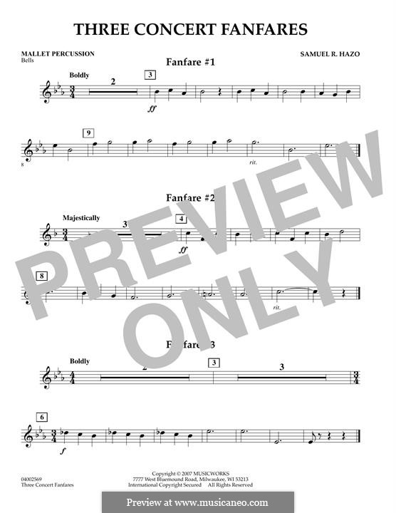 Three Concert Fanfares: Mallet Percussion part by Samuel R. Hazo