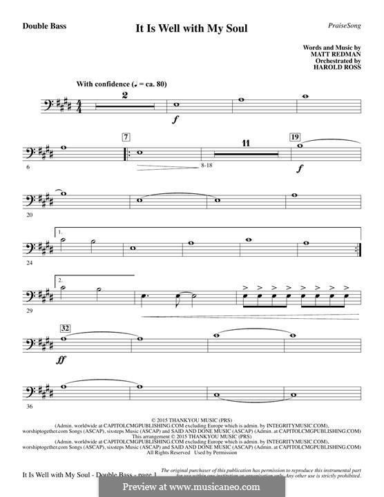 It Is Well with My Soul (Printable scores): Kontrabass-Stimme by Philip Paul Bliss