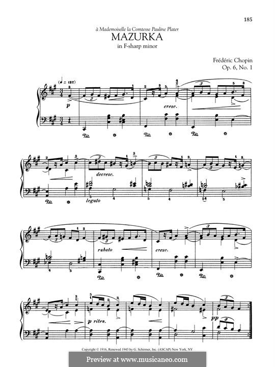 Mazurkas, Op.6: No.1 in F Sharp Minor by Frédéric Chopin