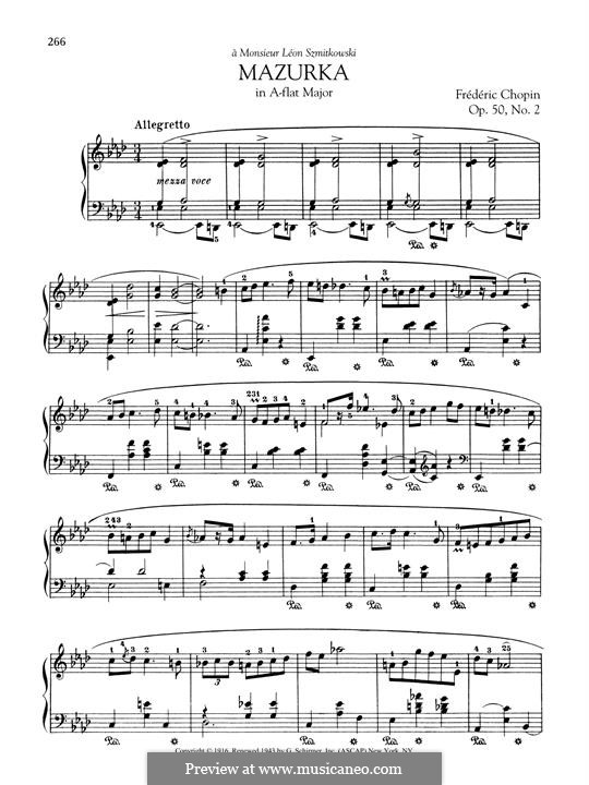 Mazurkas, Op.50: No.2 in A Flat Major by Frédéric Chopin