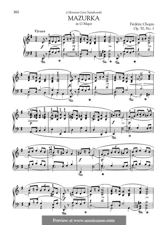 Mazurkas, Op.50: No.1 in G Major by Frédéric Chopin