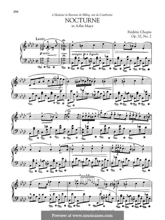 Nocturnen, Op.32: No.2 in A Flat Major by Frédéric Chopin
