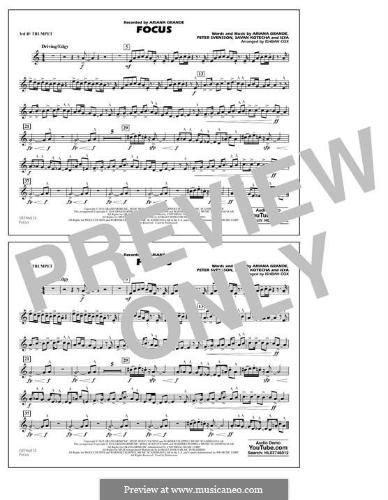 Focus: 3rd Bb Trumpet part by Peter Svensson, Savan Kotecha, Ariana Grande, Ilya
