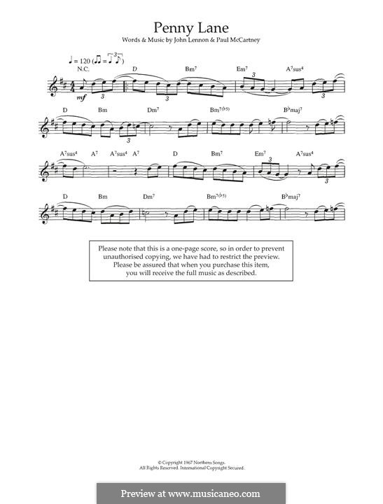 Penny Lane (The Beatles): Für Keyboard by John Lennon, Paul McCartney