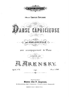 Zwei Stücke für Cello und Klavier, Op.12: No.2 Capriccioso Dance by Anton Arenski