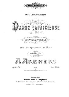 Zwei Stücke für Cello und Klavier, Op.12: No.2 Capriccioso Dance – solo part by Anton Arenski