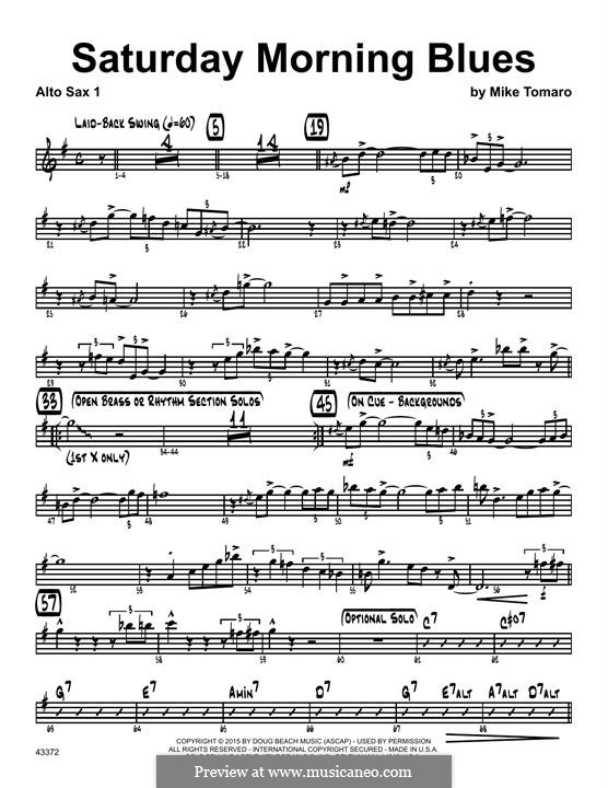 Saturday Morning Blues: 1st Eb Alto Saxophone part by Mike Tomaro