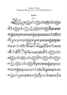 Nr.1, 3, 10: Für Orchester – Schlagzeugstimmen by Johannes Brahms