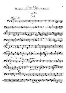 Nr.1, 3, 10: Für Orchester – Kontrabassstimme by Johannes Brahms