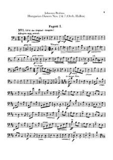 Nr.2, 7: Für Orchester – Fagottstimmen by Johannes Brahms