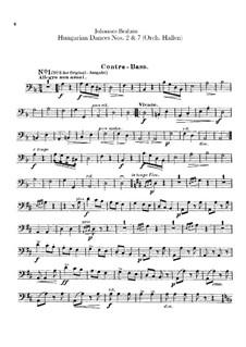 Nr.2, 7: Für Orchester – Kontrabassstimme by Johannes Brahms