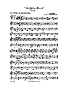 Tanz Nr.5 in fis-Moll: Für Blasorchester – Baritonsaxophonstimme by Johannes Brahms