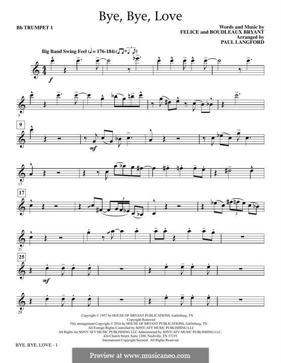 Bye Bye Love (The Everly Brothers): Bb Trumpet 1 part by Boudleaux Bryant, Felice Bryant