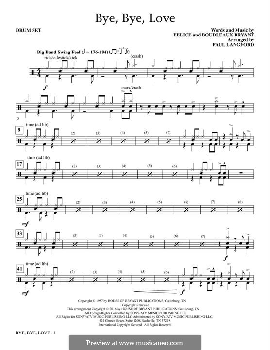 Bye Bye Love (The Everly Brothers): Drum Set part by Boudleaux Bryant, Felice Bryant