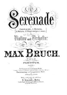 Serenade in a-Moll, Op.75: Für Violine und Klavier – Partitur, Solo Stimme by Max Bruch