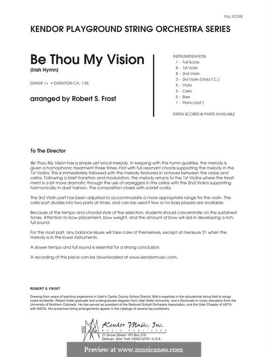 Be Thou My Vision (Printable scores): Vollpartitur by folklore