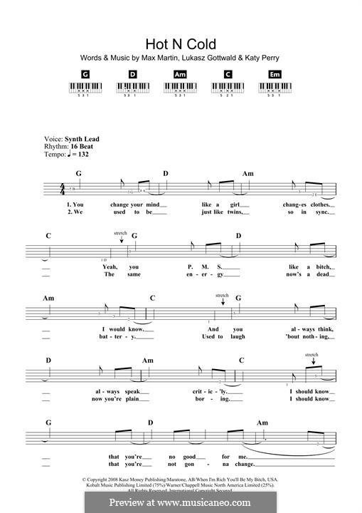 Hot n Cold: Für Klavier by Katy Perry, Lukas Gottwald, Max Martin