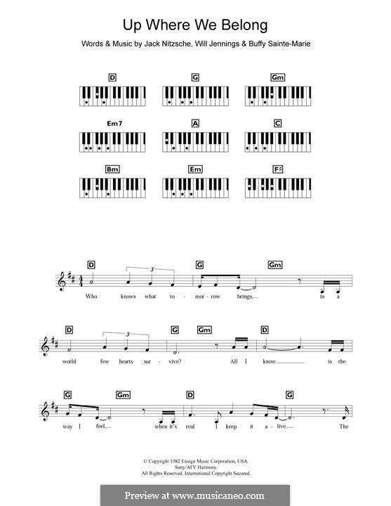 Up Where We Belong (Joe Cocker and Jennifer Warnes): Für Klavier by Buffy Sainte-Marie, Jack Nitzsche, Will Jennings