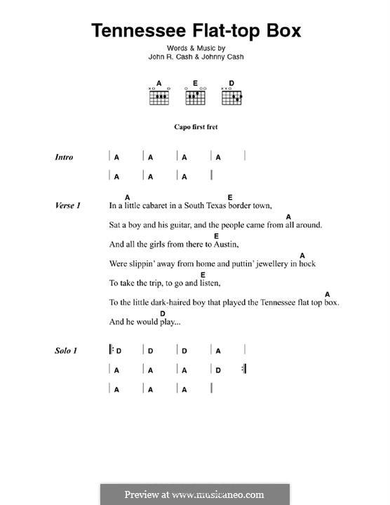 Tennessee Flat Top Box: Für Gitarre by Johnny Cash