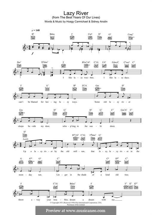 Lazy River (Bobby Darin): Für Keyboard by Hoagy Carmichael, Sidney Arodin