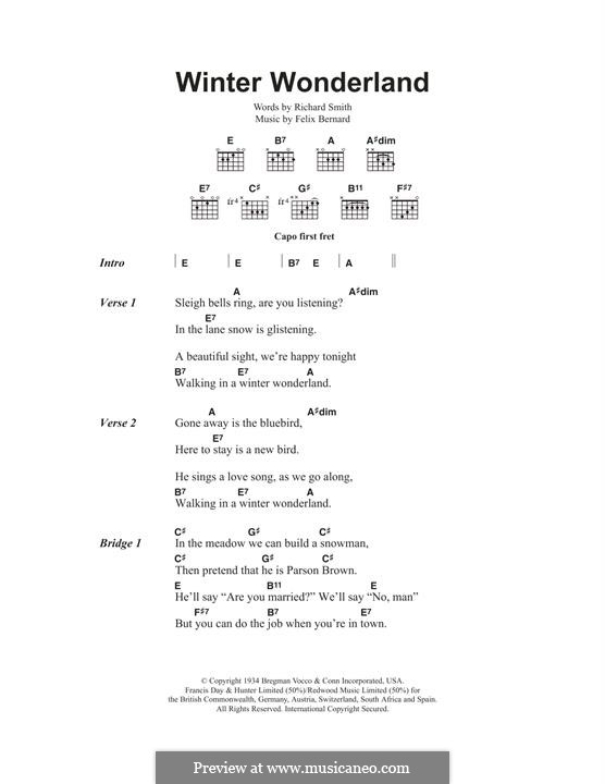 Winter Wonderland: Für Gitarre by Felix Bernard