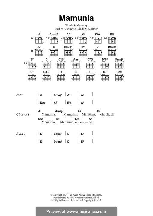 Mamunia (Wings): Für Gitarre by Linda McCartney, Paul McCartney