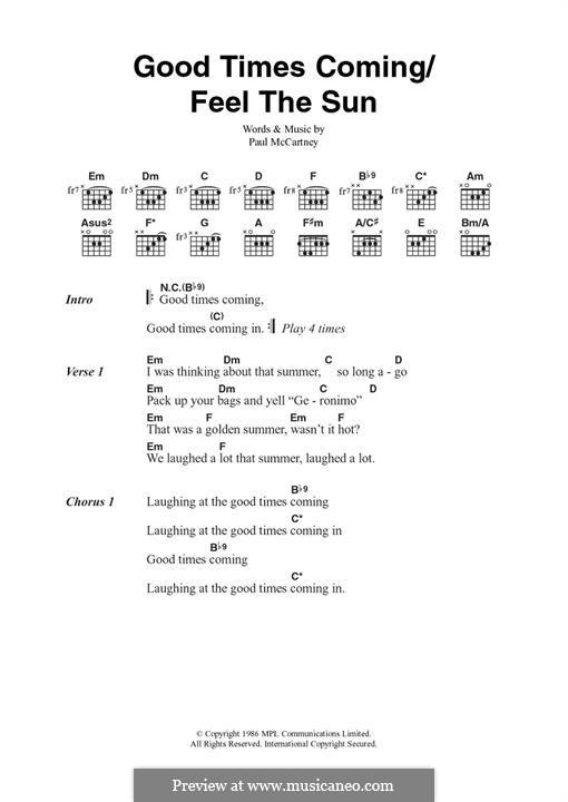 Good Times Coming/Feel the Sun: Für Gitarre by Paul McCartney