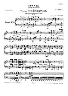 Sonate für Klavier Nr.32, Op.111: Für einen Interpreten by Ludwig van Beethoven