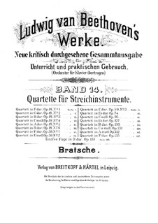 Quartett Nr.1 in F-Dur: Bratschenstimme by Ludwig van Beethoven