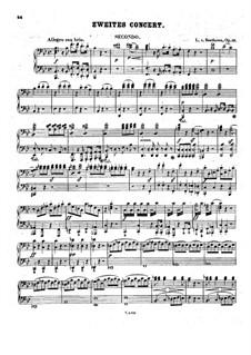 Konzert für Klavier und Orchester Nr.2, Op.19: Teil I, für Klaver, vierhändig by Ludwig van Beethoven