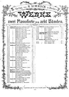 Ständchen Nr.2 in A-Dur, Op.16: Für zwei Klaviere, achthändig – Stimmen für Klavier I by Johannes Brahms