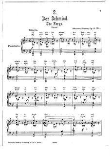 Fünf Gedichte, Op.19: Nr.4 Der Schmied, für Klavier by Johannes Brahms