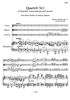 Klavierquartett Nr.1 in g-Moll, Op.25: Teil I by Johannes Brahms