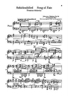 Schicksalslied , Op.54: Bearbeitung für Stimmen und Klavier by Johannes Brahms