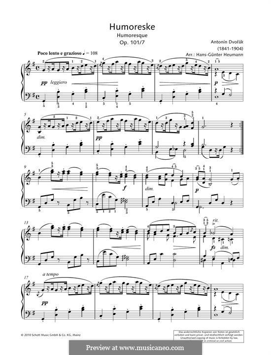 Humoresken, B.187 Op.101: No.7, for piano by Antonín Dvořák