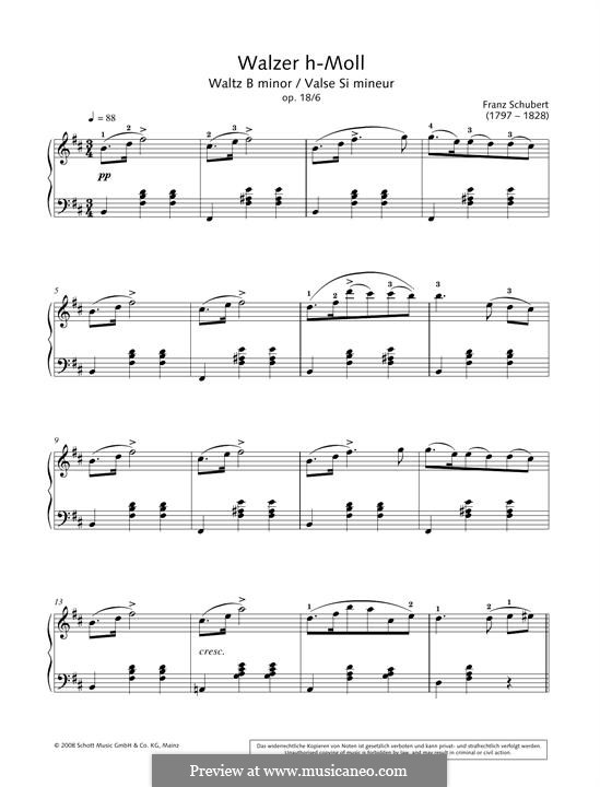 Zwölf Walzer, Siebzehn Ländler und Neun Ecossaise, D.145 Op.18: Waltz No.6 by Franz Schubert