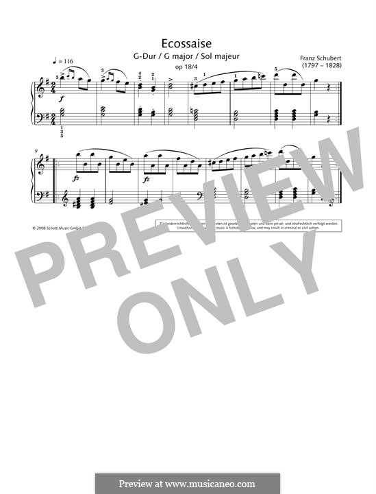 Zwölf Walzer, Siebzehn Ländler und Neun Ecossaise, D.145 Op.18: Ecossaise No.4 by Franz Schubert